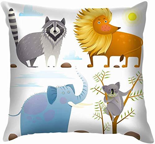 shizh Animales Zoo Colección de imágenes prediseñadas León Fauna Acuarela Naturaleza Lino Algodón Decorativo Hogar Funda de Almohada Funda de cojín para sofá Sofá 45x45 cm