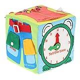 Toygogo Cubo di Stoffa Morbida 6 in 1, Impara A Vestire per I più Piccoli, Montessori Abilità di di Base Giocattolo Zip di Sviluppo, Bottone Automatico,