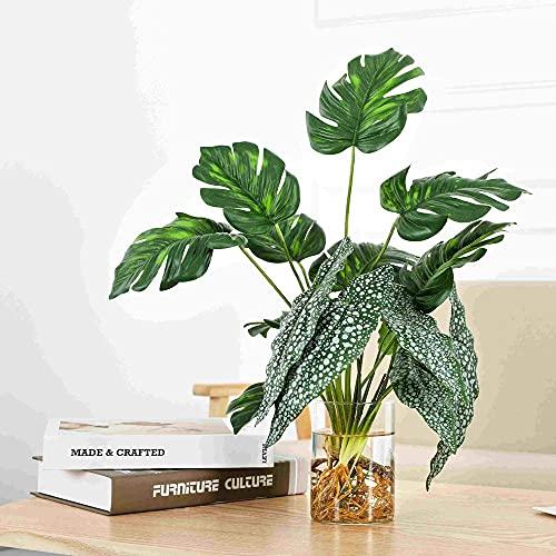 Lackingone Juego de 2 plantas artificiales decorativas, de alta simulación de Begonia, palma falsa hidropónica de imitación de mesa, arreglos de vegetación realistas