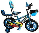 Rising India 14' Cartoon Character Double Seated Modern Kids Bicycle for 3-5 Years Blue -Semi...