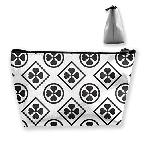 Multi-Functional Print Trapezoidal Storage Bag for Female Geometric Black White