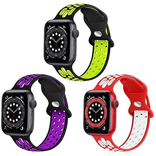 WNIPH Correa de silicona deportiva compatible con Apple Watch, 38 mm, 40 mm, 42 mm, 44 mm, silicona suave, correa de repuesto para Apple Watch SE, iWatch Series 6, 5, 4, 3, 2, 1