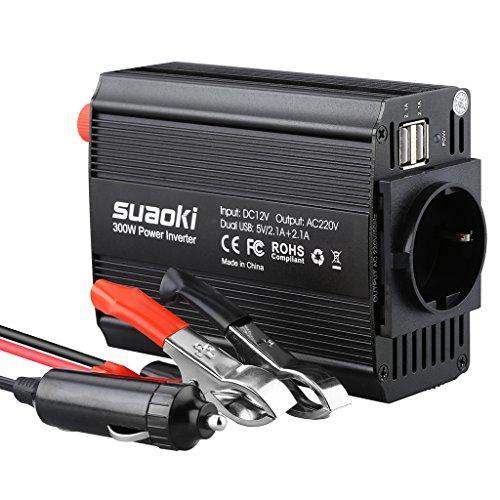 SUAOKI DC Onduleur Convertisseur de tension 300 W, 12 V vers AC 220 V-240 V avec 2 ports USB et prise allume-cigare pour ordinateur portable, tablette, smartphone et autres appareils