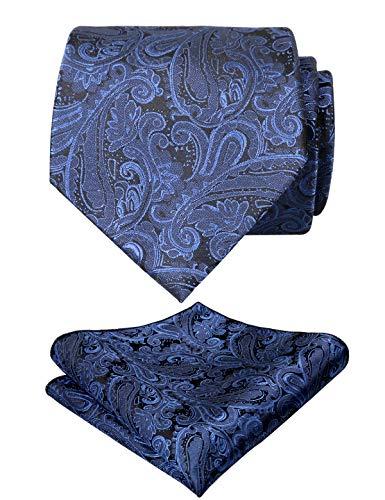 Alizeal Alizeal, Krawatte mit Einstecktuch, Paisleymuster, handgefertigt, UK174-Navy, Blau, UK174-Navy