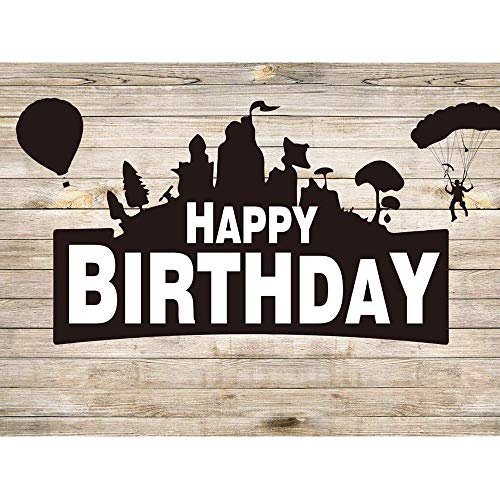 Allenjoy Battle Game Wood Happy Birthday Backdrop Kids Boys Royale Assorted Gamer Bday Party Table Decoration Banner Air Balloon Fortress Bastion Room Wall Decor 7x5ft Background Photo Booth Props