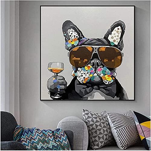 SXXRZA Poster Artworks 50x50cm Sin Marco Graffiti Perro Moderno con Gafas de Sol Carteles e Impresiones Arte de Pared nórdico Cuadros para Sala de Estar Decoración del hogar
