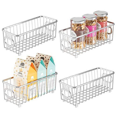 mDesign Juego de 4 cestas de almacenaje metálicas con Asas – Cajas organizadoras con Atractivo diseño de Alambre – Cesta de Alambre para armarios de Cocina, despensa y Cuarto de baño – Plateado