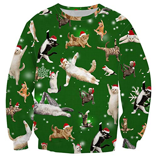 GAO Weihnachtsdruck Sweatshirt Jacke Herren Hoodie Langarm Warm Pullover 3D,H-M