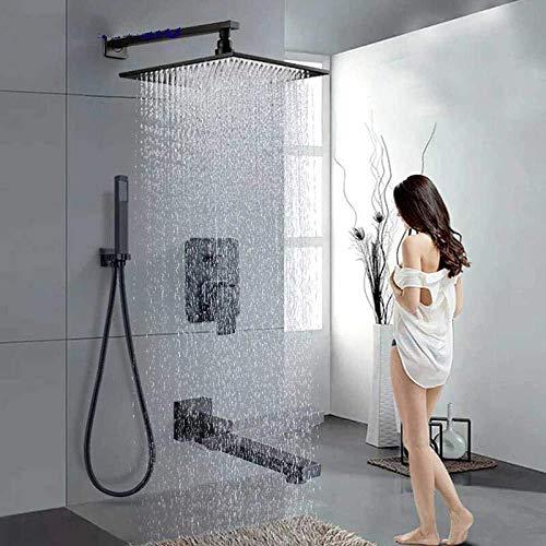 Wieoc Douchesysteem, zwart, inbouw, douchekop, messing, regendouchekop, eengreepsmengkraan, badkamer, douche, mengkraan, handdouche hendel 10 inch.