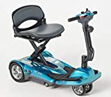 EV Rider Award Winning Transport AF+ Auto Folding Scooter - Newly Updated w/4 Wheels, Remote and 11.5 Battery - Ultralight Compact Long Range - Blue