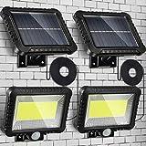 2 Luces Solares Exterior, Luz de Lámpara Impermeable de 100 LED de Pared de Inducción de Cuerpo Humano, Luces de Seguridad de Instalacion Fácil con Cable 16,4 Feet/ 5 m con Panel Solar