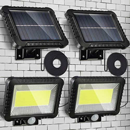 2 Packung Solarlampen Outdoor, Menschlicher Körper Solar Induktion Wand Lampe Wasserdicht 100 LED Spotlight, 16,4 ft/ 5 m Kabel, Einfach-zu-Installieren Lampe mit Verstellbarem Solar Panel