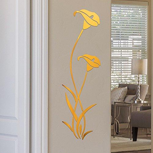 3D DIY Blumenform Acryl Wandaufkleber Moderne Aufkleber Dekoration, Wohnkultur für Ostertag (Gold)