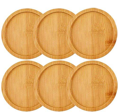 IHUIXINHE 3 inch Vassoio di bambù Sottovaso bambù Marrone Chiaro, Leggero e Durevole per Tenere Il Fioriera Piccola e Ornamento Piccolo Pacchetto di 6