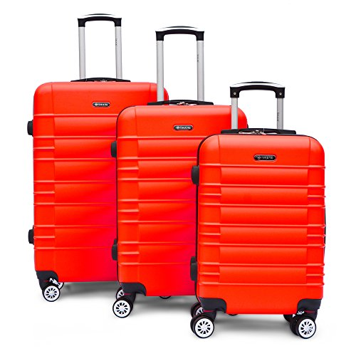 SHAIK Series CLASSIC DESIGN JFK Trolley Suitcase 3 sizes M   L   XL  Set - 40/78/124 Liters Hard & Flexible Case Carry On Luggage Travel Bags, 360⁰ Rotation Wheels (SET, Red)