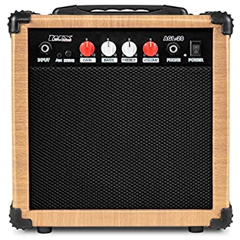 LyxPro Electric Guitar Amp 20 Watt Amplifier Built In Speaker Headphone Jack And Aux Input Includes Gain Bass Treble Volume And Grind - Natural