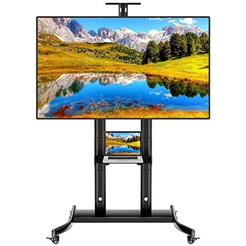 DORPU Mobile TV Cart for 32-72 Inch LED LCD 4K Flat Curved Screen TVs, Height Adjustable Rolling TV Stand Bear up to 165lbs Outdoor TV Stand with Stable Wheels