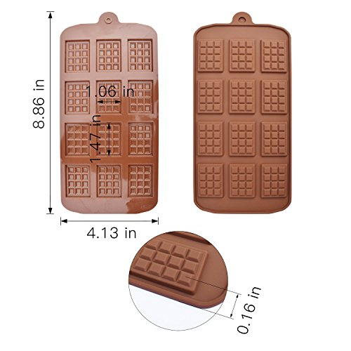 homEdge 12 Cavity Break-Apart Chocolate, Set of 4 Packs Food Grade Non-Stick Silicone Protein and Energy Bar Candy Molds