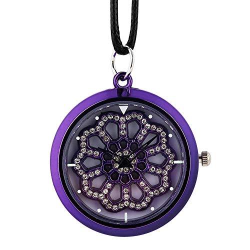 GPWDSN Taschenuhr, Crystal Diamond Damen Halskette Uhr Leder Seil Quarz Hängende Uhr Top Plattenspieler Uhr Uhr für Mädchen, Taschenuhr personalisiert graviert