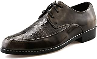 Shangruiqi Men's Fashion Oxford Casual Personality with Front Crocodile Print British Style Lace Up Outdoor Leisure Shoes Abrasion Resistant (Color : Gold, Size : 7.5 UK)