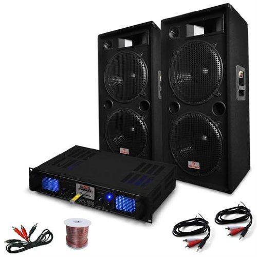 Sistema de Sonido DJ-42 3000W Altavoces Amplificador USB SD