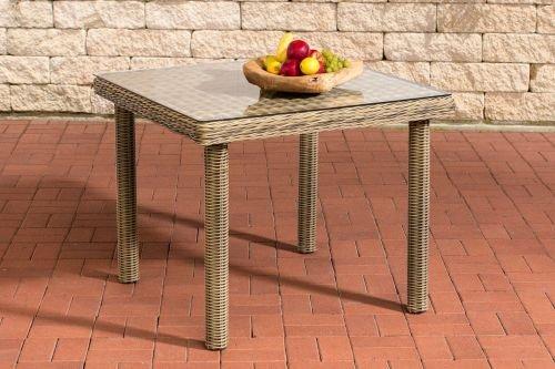 CLP Polyrattan-Gartentisch Puerto Rico Mit Tischplatte Aus Glas I Wetterbeständiger Tisch Aus Polyrattan, Farbe:Natura, Größe:90x90 cm