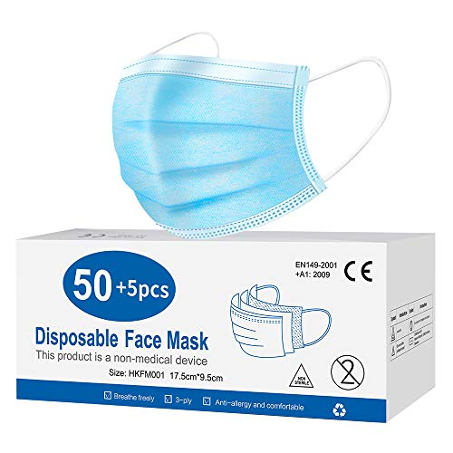 Disposable Face Mask for Protection 3 Layer, Breathable Masks
