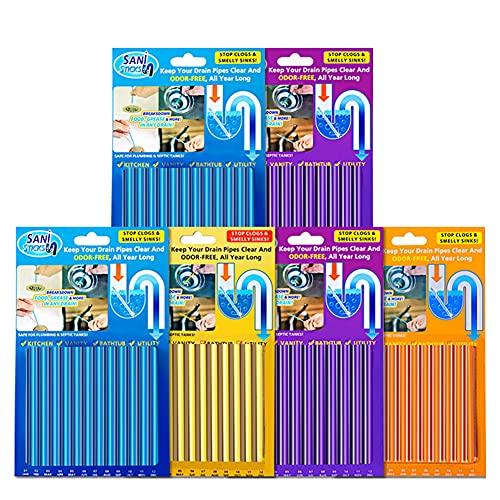 72 Piezas Sani Sticks Palillos para desagüe, Limpiador de desagües Limpia Tuberias Cleaning Sticks Mantiene Las tuberías de desagüe limpias, Libres de atascamientos y elimina Olores