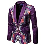 AOWOFS Men's Casual One Button Slim Fit Blazer Ethnic Style Party Fashion Dress Suit Jacket Purple