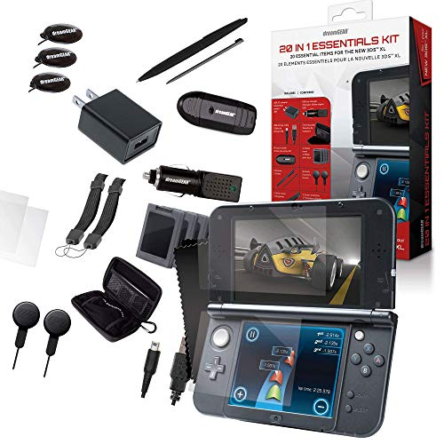 dreamGEAR 20-in-1 Essentials Kit: Compatible with Nintendo NEW 3DS XL, Carrying Case, 2 Screen Protectors, 4 Game Cases, Earbuds, 2 Stylus, SD Card Reader, Charge Cable, AC Adapter, Car Charger, More