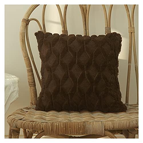 Adecuado para cojín de Piel Cubierta de Almohada Casa de Almohada Sala de Estar Decoración Sofá Decoración Pastilla de rellusco Funda nórdica Rayas (Color : Coffee, Size : 40CM X 40CM)