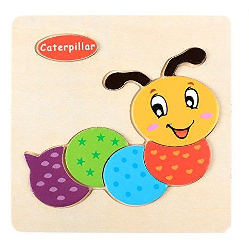 IHGWE Holz Kinderpuzzle 3D Bug Puzzle, Kinder Lernspielzeug Puzzle, 3D niedlichen Bug
