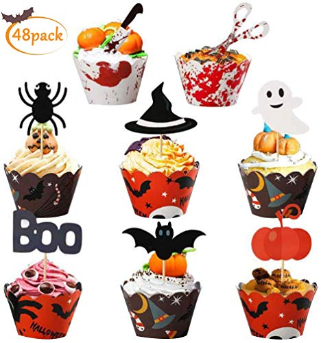 LIZHIGE 48 Stück Halloween Papier Cupcake Topper Picks Ghost Spinne Fledermaus Kürbis Decor für Halloween Decorations Kids Birthday Party Themed Party