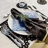 PREZENT MÉXICO, Set de manteles Individuales color Negro, inspiración del papel picado mexicano, set de 6 piezas, decoración mexicana, día de muertos en México.