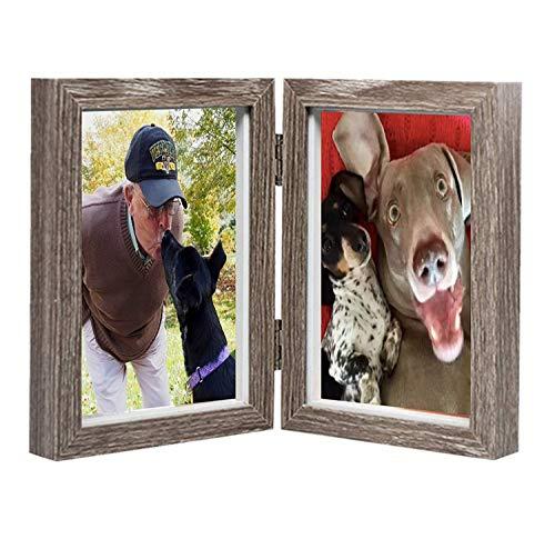 Bilderrahmen aus Holz, doppelter Rahmen, für Fotos à 10 x 15 cm, klappbar, mit Glasfront, Doppelrahmen,Grau