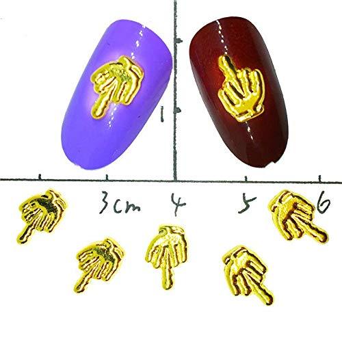 BLOUR 10Pcs Gold Fingernagel Zubehör 3D Trend Nail Art Dekoration Persönlichkeit Aufkleber Nailart Supplies Studs Punk Fingers Dekor