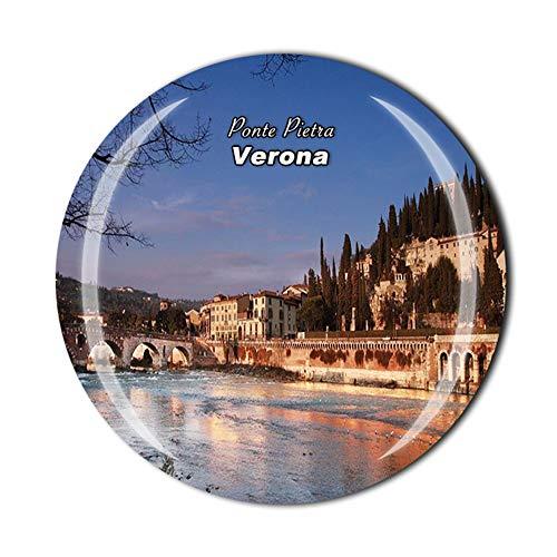 Ponte Pietra Verona Italia imán para nevera de viaje, recuerdo de viaje, hogar, cocina, frigorífico, decoración magnética de cristal, colección de imanes