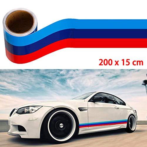 Qmcmc M-Farbiger Streifenaufkleber Auto Vinyl Aufkleber für BMW M3 M4 M5 M6 3 5 6 7 Serie