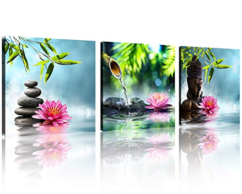 TutuBeer Zen Canvas Prints 3 Panel Spa Wall Decor Spa Stone Green Bamboo Pink Waterlily Zen Buddha Pictures Canvas Painting Print for Home Office and Kitchen Stretched and Framed Each Panel 12x12inch