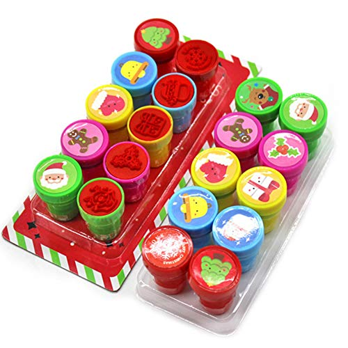 Newin Star Juego 1set (10pcs) de la Novedad Feliz Navidad Surtido de Sellos de plástico entintado Stamper portátiles para niños Sellos de Navidad para los favores de Partido