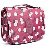 Emwel bolsa de cosméticos bolsa de aseo para hombres y mujeres de viaje camping cosas necesarias cosméticos estuche de maquillaje bolso (Flor rojo vino)