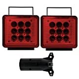 Bully NV-5164 Wireless Trailer Red LED Light Kit with Magnetic Base for RV, Campers, Boats, Farming Equipment, Long Trailers, and Tow Trucks - Requires 12AA Battery