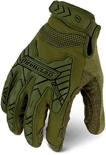 IRONCLAD Command Tactical Impact, Touch Screen Gloves Conductive Palm and Fingers, Impact Protection, Durable, Performance Fit, Machine Washable, Sized S, M, L, XL, XXL (1 Pair) (Large, OD Green)