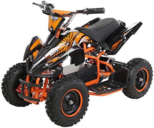 Actionbikes Motors Kinder Elektro Miniquad ATV Racer 1000 Watt 36 Volt - Scheibenbremsen - Safety Touch System Fußschalter (1000 Watt Schwarz/Orange)