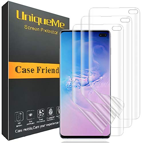 [3 PACK] UniqueMe Compatible with Samsung Galaxy S10 Plus/S10+ Screen Protector, HD Clear [ Case Friendly ] Full Coverage Soft Flexible TPU film with Lifetime Replacement Warranty