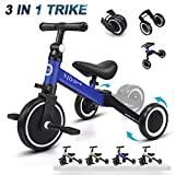 XJD 3 in 1 Kids Tricycles for 1-3 Years Old Kids Trike 3 Wheel Bike Boys Girls 3 Wheels Toddler Tricycles Toddler Bike Trike Upgrade 2.0 (Blue)