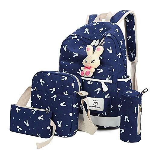 Rucksack Mädchen Damen, VECOLE Backpack Kaninchen-Anhänger Rucksack Schultasche Reiserucksack Campus Studenten Tasche für Kindergarten/Park/Reise(Blau)
