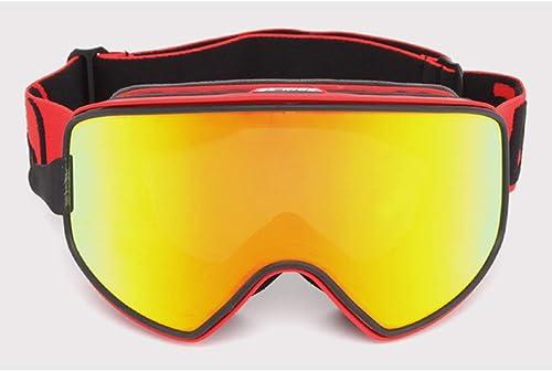 HOUYAZHAN Masque de Ski Masque de Ski Set Escalade désembuage Aihommet Double Couche Double vitrage lentille en Verre débutant nage Snorkeling Silicium