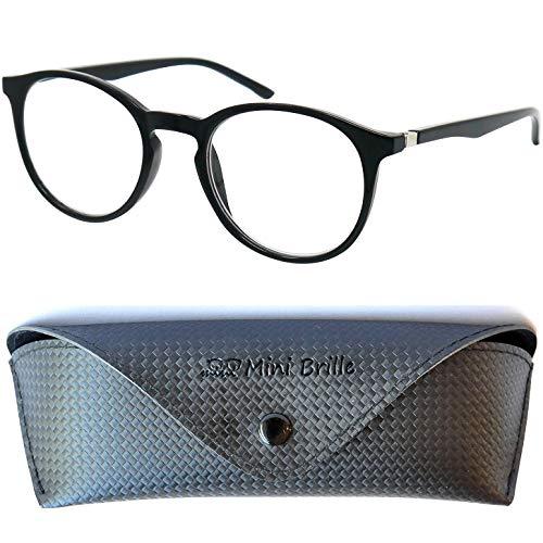 Klassische Nerd Lesebrille mit großen runden Gläsern - mit GRATIS Brillenetui, Kunststoff Rahmen (Schwarz), Lesehilfe Damen und Herren +2.0 Dioptrien
