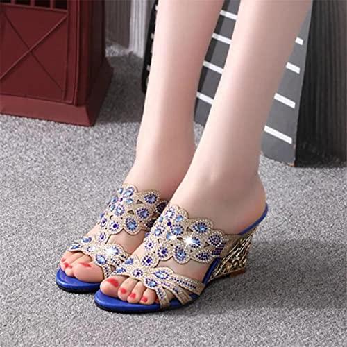 DZQQ Femmes Sandales 2021 été Mode Sandales à Talons Hauts Cristal décontracté Dames Chaussures Talons Hauts Pantoufles Strass